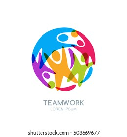 Colorful abstract happy people in circle shape. Vector logo, emblem design template. Human silhouettes or playing kids. Concept for teamwork, business training, partnership, seminar, social network.