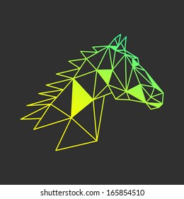 Colorful abstract horse head triangle shapes