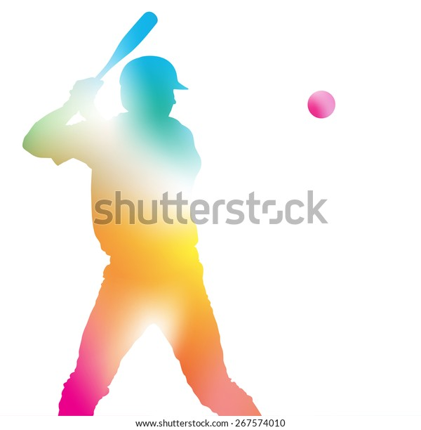 Colorful abstract illustration of a Baseball Player hitting a Home Run through a haze of summer blurs.