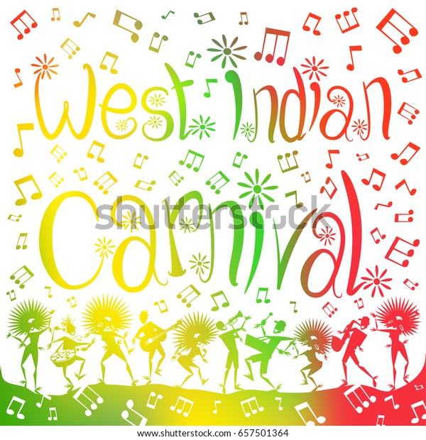 Colorful abstract illustration of West Indian Carnival Dancers and Musicians through a haze of musical notes and summer blurs.