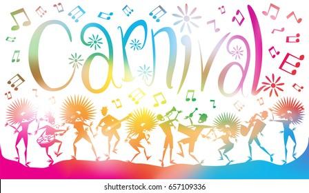 Illustration abstraite colorée de Jeunes Gens dansant et bondissant à travers une brume de notes musicales et de flous estivaux.