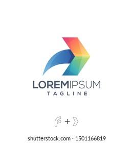 Colorful abstract letter f forward arrow creative concept logo design template vector