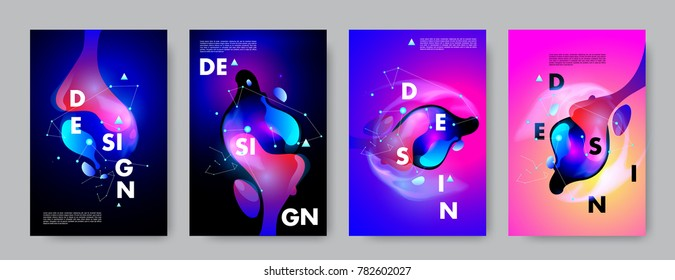 Colorful abstract liquid and fluid poster and cover design. Minimal geometric pattern gradients backgrounds. Eps10 vector.