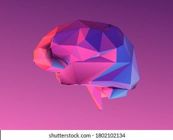 Colorful abstract low poly human brain symbol minimal triangulate style vector illustration isolated on purple pink background