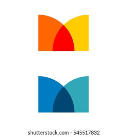 Colorful Abstract M Letter Logo Template