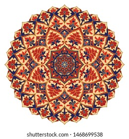 Colorful abstract mandala. Floral gesign element. Oriental elegant ornament. Indian pattern for curtains.