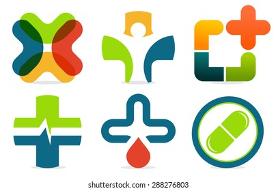 Colorful abstract med logo. Vector medicine cross collection. Plus sign set.