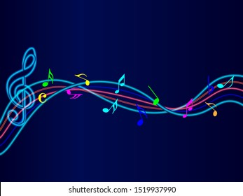 Colorful Abstract music notes neon light on rainbow line wave background. colorful G-clef and music notes. Can be adapt to Brochure, Annual Report, Magazine, Poster, music background.