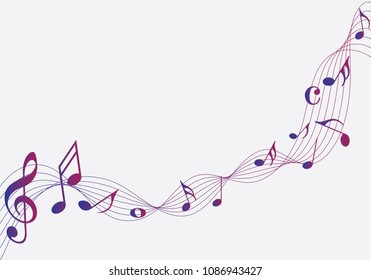 Colorful Abstract music notes on rainbow line wave background. Black G-clef and music notes isolated vector illustration Can be adapt to Brochure, Annual Report, Magazine, Poster, music background.