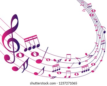Colorful Abstract music notes on rainbow line wave background. colorful G-clef and music notes isolated vector illustration Can be adapt to Brochure, Annual Report, Magazine, Poster, music background.