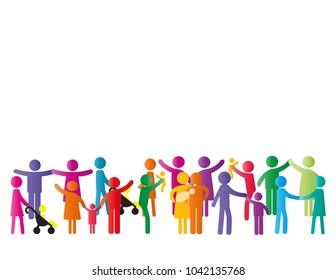 Colorful abstract pictograms showing figures happy and loving family - parents, kids, couples.