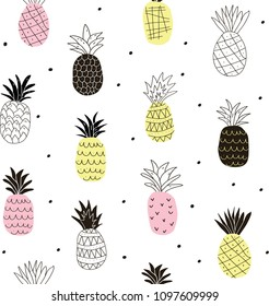 colorful abstract pineapples seamless pattern. Colorful tropical doodle vector pattern