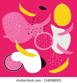 Colorful abstract seamless background pattern with tropical fresh fruits Dragon fruit Pitaya Pitahaya slice Jackfruit Banana Polka dots Circle shapes Perfect modern unique hand drawn design elements