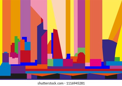 Colorful abstract skyline of the City of London.