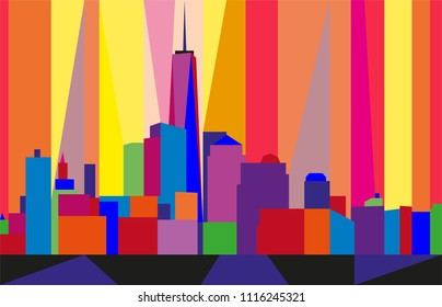 Colorful abstract skyline of Manhattan, New York City.