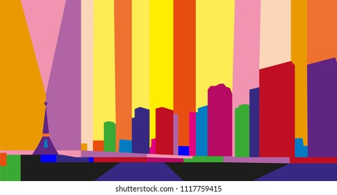 Colorful abstract skyline of Paris, France.