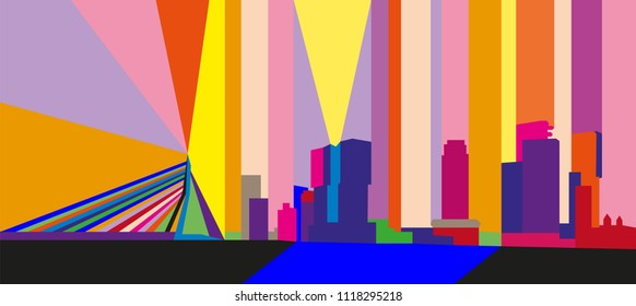 Colorful abstract skyline of Rotterdam, The Netherlands.