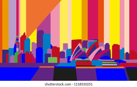 Colorful abstract skyline of Sidney, Australia.