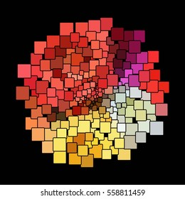 Colorful Abstract Squares On A Black Background