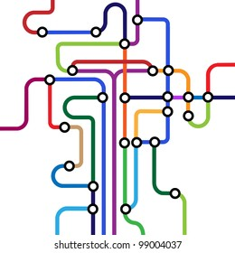 Colorful abstract subway map.Vector eps10