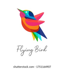Colorful abstract tropical bird or hummingbird with wings spread in flight. Design template Logo, icon, badge, trendy identity for modern business. Takeoff and success symbol. Vector illustration.