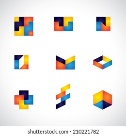 colorful abstract unusual shapes vector icons of design elements. This graphic contains orange, yellow, red, blue colors in vibrant combinations