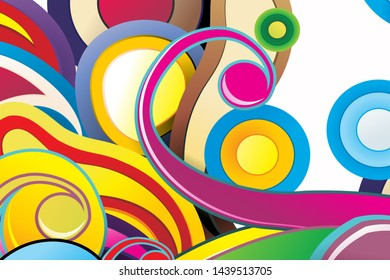 Colorful abstract vector backgrounds, with curved and circular patterns. EPS 10.