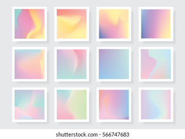 Colorful abstract vivid holographic style gradients textures collection
