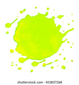 Colorful abstract watercolor stain with splashes and spatters. Light green and yellow background. Vector illustration.