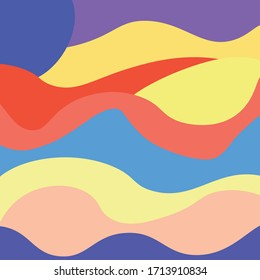 Colorful abstract waves beautiful vector image in a square shape