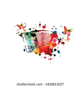 Colorful accordion with music notes isolated vector illustration design. Music background. Accordion poster with music notes, festival poster, live concert events, party flyer