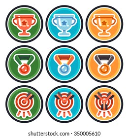 Colorful  achievement badges. Book, money, gift. Vector flat gamification icons.