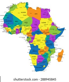 Colorful Africa Political Map With Clearly Labeled, Separated Layers.  Vector Illustration.