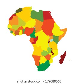 Colorful Africa vector map with separated countries isolated on white background.