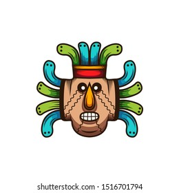 colorful African mask logo template. Tribal mask vector illustration. Africa and Safari logo elements and icon.