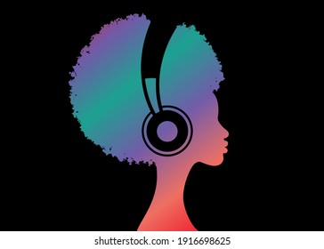 Colorful Afro curly girl listens to music on headphones. Music therapy. Profile of a young African American woman. Musician avatar side view. Vector illustration isolated on black background