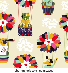 Colorful air balloons and cartoon animals. Seamless vector background
