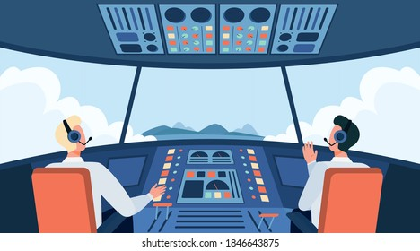 Colorful airplane cockpit isolated flat vector illustration. Two cartoon pilots sitting inside plane cabin in front of control panel. Flight crew and aircraft concept