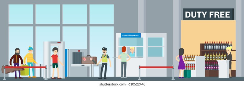 Colorful airport security concept with passengers passing baggage check and passport control vector illustration