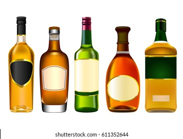 Colorful alcohol bottle set isolated on white