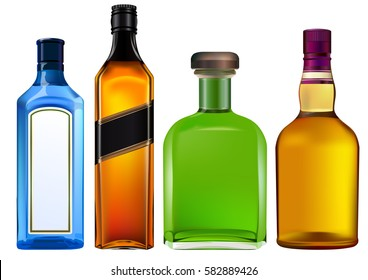 Colorful alcohol bottles set isolated on white.
