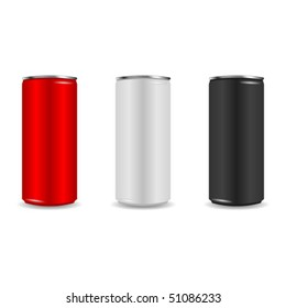 Colorful aliminum drink cans over white background