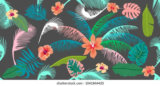 Colorful aloha pattern. Seamless vector print with palm leaves and trorical flowers. On dark grey background.