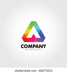 Colorful Alpha Logo Design Rainbow color combination, suited abstract for your Technology and Business Logo