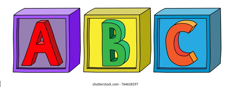 Colorful alphabet A B C letters on cube blocks in horizontal position.