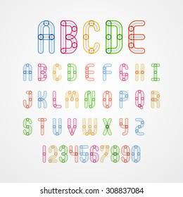 Colorful alphabet capital letters A,B,C,D,E,F,G,H,I,J,K,L,M,N,O,P,Q,R,S,T,U,V,W,X,Y,Z. and numbers.vector illustration