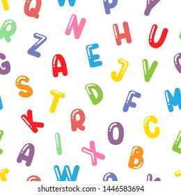 Colorful alphabet in cartoon style. Seamless vector pattern