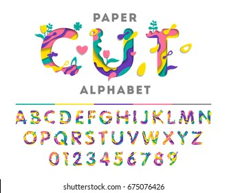 Colorful alphabet with abstract paper cut shapes or liquid paint. Paper cut style. Art carving font with flowers and leaf. Vector illustration.