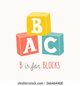 Colorful alphabet cubes with A,B,C letters.  Isolated vector eps 10 illustration on white background.