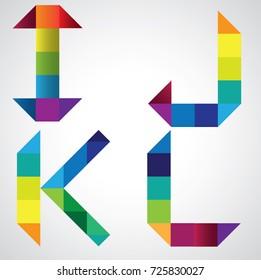 Colorful alphabet with geometric. I, j, k, l,